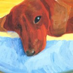 Detail from one of David Hockney's dachshund paintings 1995